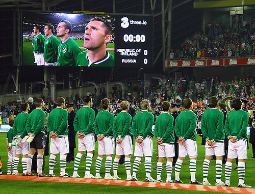08.10.2010 Irish team line, wioth Robbie Keane, Republic of Ireland on the main screen - The Republic of Ireland meet Russia in the European Championship Qualifier at the brand new Aviva Stadium in Dublin