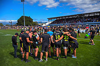 The Hurricanes huddle at halftime during the Super Rugby preseason match between the Hurricanes and Crusaders at Levin Domain in Levin, New Zealand on Saturday, 2 February 2019. Photo: Dave Lintott / lintottphoto.co.nz