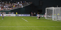 DC United forward Jaime Moreno (99) scores his goal on a penalty kick in the 70th minute of the game against Toronto FC goalkeeper Greg Sutton (1). DC United defeated Toronto FC 3-2, Saturday May 24, 2008 at RFK Stadium.