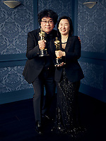 Oscar® winners Bong Joon Ho and Kwak Sin-ae during the 92nd Oscars® on Sunday, February 9, 2020 at the Dolby Theatre® in Hollywood, CA, televised live by the ABC Television Network.<br /> *Editorial Use Only*<br /> CAP/AMPAS<br /> Supplied by Capital Pictures