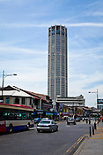 Menara Komtar Complex - Penang's tallest building and the sixth tallest building in Malaysia seen here in George Town of Penang, Malaysia. Photo: Sanjit Das/Panos