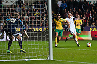 Thursday 24 October 2013  <br /> Pictured:  Jonjo Shelvey of Swansea tries to get the ball into the net during the first half<br /> Re:UEFA Europa League, Swansea City FC vs Kuban Krasnodar,  at the Liberty Staduim Swansea