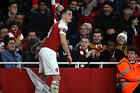 Arsenal's Granit Xhaka checks on the well being of a fan after they were hit by the ball in the first half during Arsenal vs Rennes, UEFA Europa League Football at the Emirates Stadium on 14th March 2019