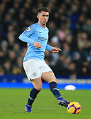6th February 2019, Goodison Park, Liverpool, England; EPL Premier League Football, Everton versus Manchester City; Aymeric Laporte of Manchester City passes the ball in midfield