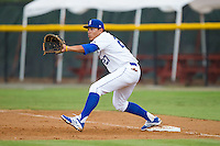 Burlington Royals first baseman Josh Banuelos (27) stretches for a throw during the game against the Elizabethton Twins at Burlington Athletic Park on June 25, 2014 in Burlington, North Carolina.  The Twins defeated the Royals 8-0. (Brian Westerholt/Four Seam Images)