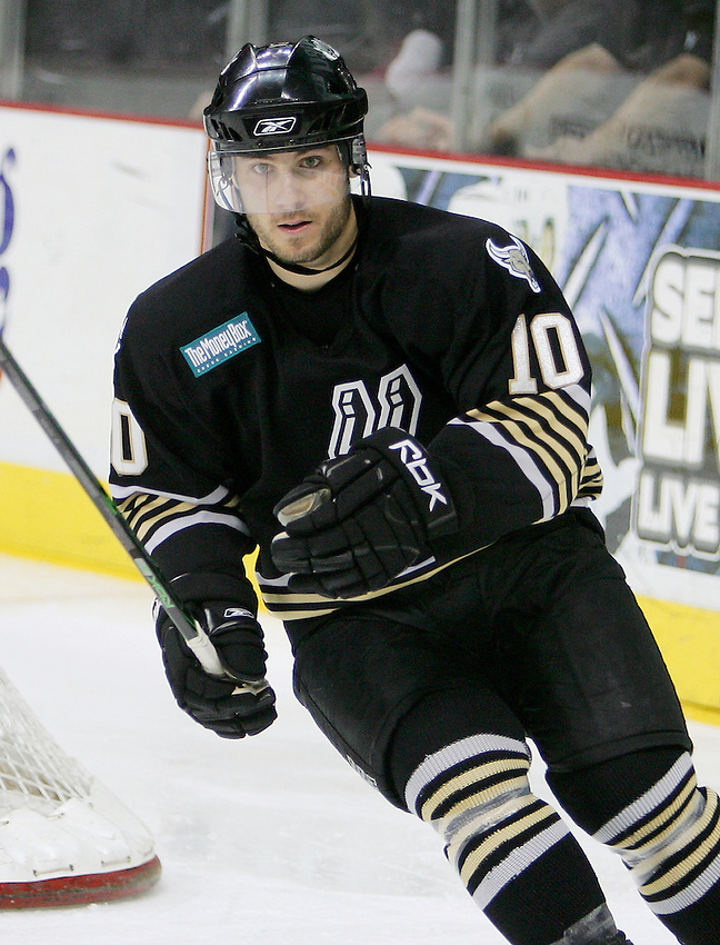 AMERICAN HOCKEY LEAGUE - San Antonio's Joey Tenute (10) skates during the game between the Houston Aeros and the San Antonio Rampage, Jan. 11, 2008 at the AT&T Center in San Antonio, Texas. Houston won 3 - 1. (Darren Abate/PressPhoto International)