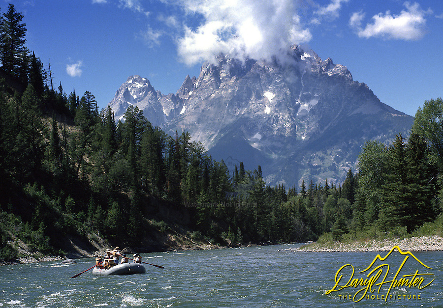 Rafting the Snake River below the Grand Tetons inGrand Teton National Park