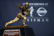 New York, NY - December 13, 2014: The Heisman Memorial Trophy on display at the New York Marriott Marquis, December 13, 2014.  (Photo by Don Baxter/Media Images International)