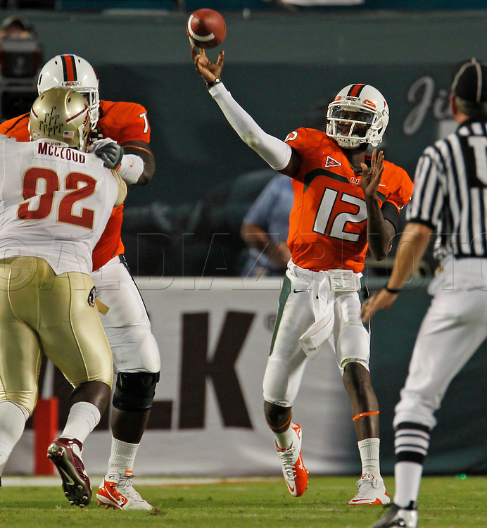 Miami's quarterback Jacory Harris passes in the second quarter during the University of Miami vs Florida State University on Saturday October 9, 2010.