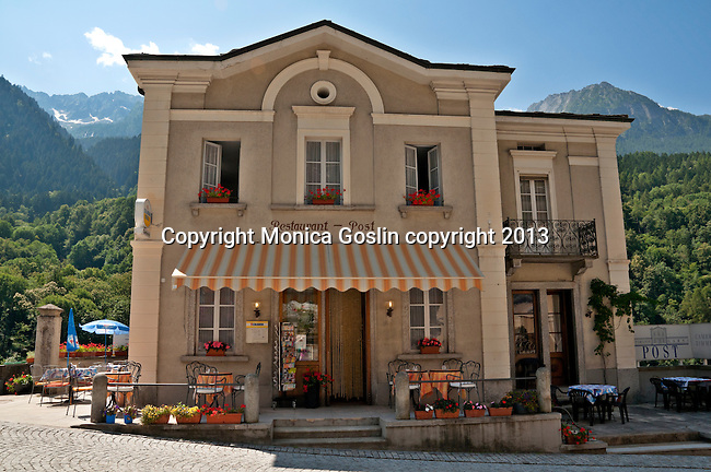 Post Office that is also a restaurant in the small town of Castasegna, a Swiss town right on the border with Italy in the Bregaglia Valley