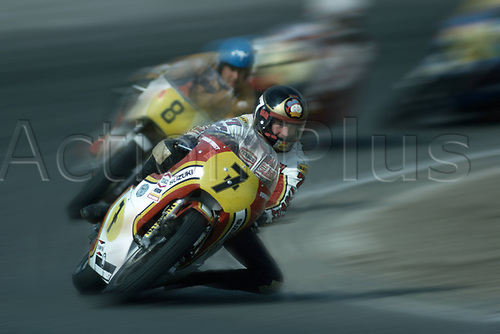 1977 Assen,  Netherlands;  Barry Sheene Suzuki Starting number 7 ahead of Jack Findlay in Assen 1977. Sheene became 2x World Champion and scored a total of 756 World Championship points  and died of cancer on 10 03 2003 in Australia