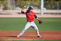 Nicholas Martinez-Iturralde (45), from Baytown, Texas, while playing for the Red Sox during the Under Armour Baseball Factory Recruiting Classic at Gene Autry Park on December 30, 2017 in Mesa, Arizona. (Zachary Lucy/Four Seam Images)