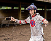 Erasmo Martinez getting soaked after his maiden win aboard Nico the Champ at Delaware Park on 5/20/13
