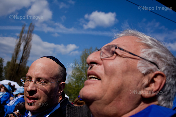 OSWIECIM, POLAND, APRIL 24, 2017:<br /> Elisha Wiesel and Sydney Amir during a ceremony of the &quot;March of The Living&quot; an annual march between two camps of the Auschwitz concentration camp.  Elisha Wiesel is a chief technology officer at Goldman Sachs in New York and the only son of Holocaust memoirist Eli Wiesel. After death of his father he has decided to step forward and take a more public role, carrying on his father's work.<br /> (Photo by Piotr Malecki / Napo Images)<br /> ###<br /> OSWIECIM, 24/04/2017:<br /> Elisha Wiesel, syn slawnego Eli Wiesela, bierze udzial w Marszu Zywych w Oswiecimiu. Po smierci ojca Elisha postanowil kontynuoawc jego dzielo.<br /> Fot: Piotr Malecki / Napo Images<br /> <br /> ###ZDJECIE MOZE BYC UZYTE W KONTEKSCIE NIEOBRAZAJACYM OSOB PRZEDSTAWIONYCH NA FOTOGRAFII###