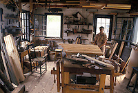 woodshop, Thunder Bay, Canada, Ontario, Inside a shop at Trades Square at Old Fort William, Fur Trading Post, in Thunder Bay.