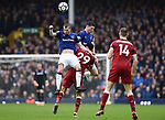 Dominic Solanke of Liverpool is challenged by Morgan Schneiderlin of Everton and Michael Keane of Everton during the premier league match at Goodison Park Stadium, Liverpool. Picture date 7th April 2018. Picture credit should read: Robin Parker/Sportimage