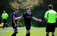 Louis Fenton makes a point to the referee during the ISPS Handa Premiership football match between Team Wellington and Wellington Phoenix Reserves at David Farrington Park in Wellington, New Zealand on Sunday, 7 January 2018. Photo: Dave Lintott / lintottphoto.co.nz