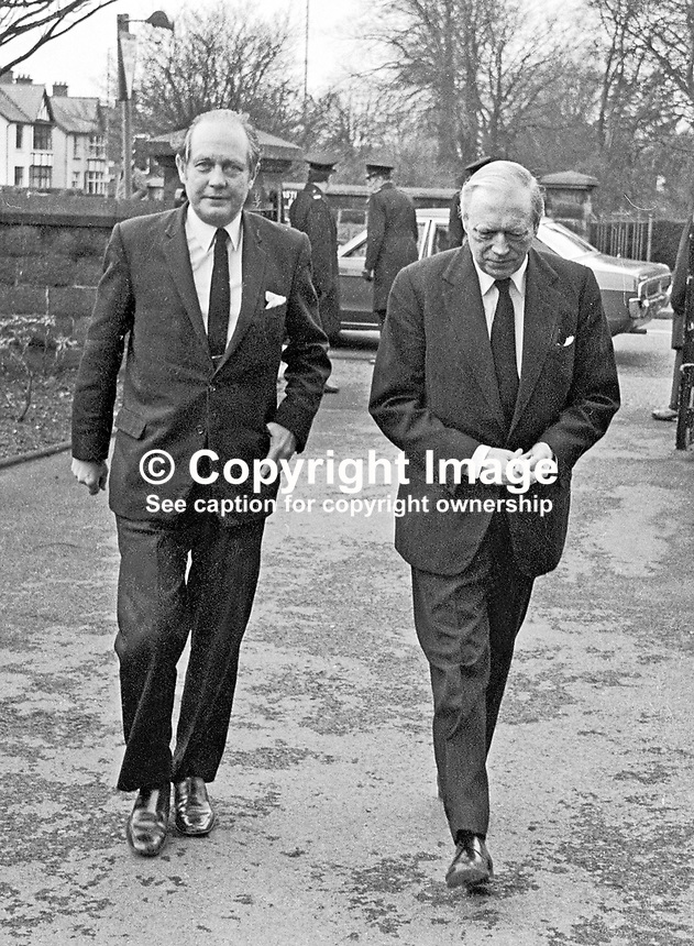 Memorial Service, Stormont Presbyterian Church, Belfast, N ireland, for Brian Faulkner, former first minister of N Ireland - UK Conservative MPs, John Biggs-Davidson (left) and Airey Neave arriving. 168/77, 197703110168c<br />