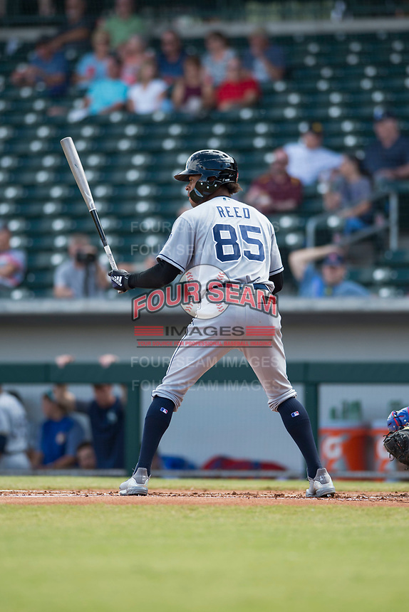 Peoria Javelinas left fielder Buddy Reed (85), of the San Diego Padres organization, at bat during an Arizona Fall League game against the Mesa Solar Sox at Sloan Park on October 11, 2018 in Mesa, Arizona. Mesa defeated Peoria 10-9. (Zachary Lucy/Four Seam Images)