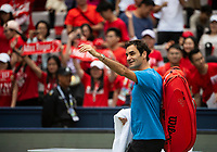 SHANGHAI - OCTOBER 6: Roger Federer of Switzerland waves to the crowd after practice before the start of the Rolex Shanghai Masters at Qi Zhong Tennis Centre on October 6, 2018 in Shanghai, China