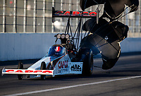 Feb 9, 2018; Pomona, CA, USA; NHRA top fuel driver Steve Torrence during qualifying for the Winternationals at Auto Club Raceway at Pomona. Mandatory Credit: Mark J. Rebilas-USA TODAY Sports