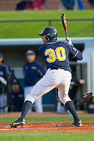 Cambric Moye (30) of the UNCG Spartans at bat against the Georgia Southern Eagles at UNCG Baseball Stadium on March 29, 2013 in Greensboro, North Carolina.  The Spartans defeated the Eagles 5-4.  (Brian Westerholt/Four Seam Images)