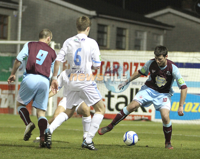 Drog's David freeman (9) and Daniel Corcoran (10) as Drogheda Utd V UCD in the Airtricity League. (result UCD 1 Drogheda Utd 0)..(Photo credit should read Jenny Matthews/www.newsfile.ie)....This Picture has been sent you under the conditions enclosed by:.Newsfile Ltd..The Studio,.Millmount Abbey,.Drogheda,.Co Meath..Ireland..Tel: +353(0)41-9871240.Fax: +353(0)41-9871260.GSM: +353(0)86-2500958.email: pictures@newsfile.ie.www.newsfile.ie.