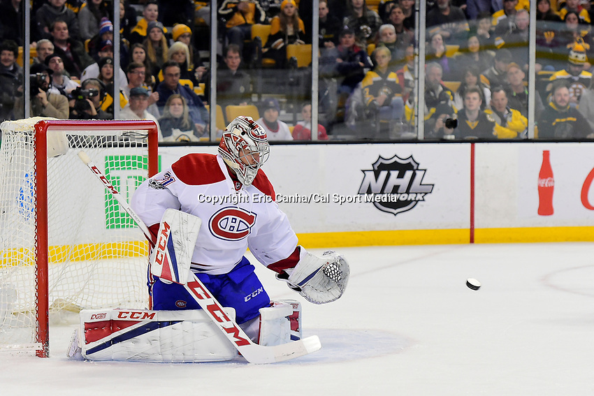 February 12, 2017: Montreal Canadiens goalie Carey Price (31) makes a save during the National Hockey League game between the Montreal Canadiens and the Boston Bruins held at TD Garden, in Boston, Mass. Eric Canha/CSM