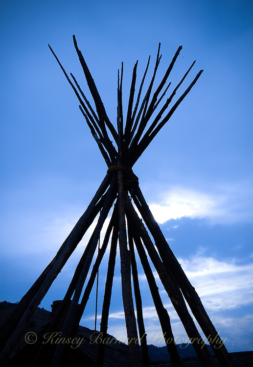 Tepee pole silhouette at Bannack State Park Montana