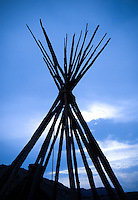 Tepee pole silhouette at Bannack State Park Montana