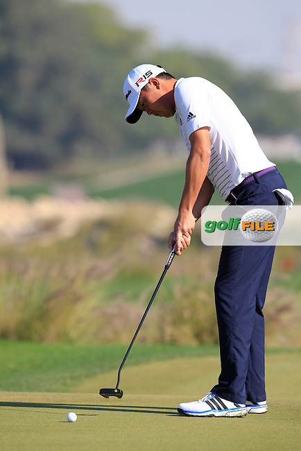 David Lipsky (USA) takes his birdie putt on the 9th green during Thursday's Round 2 of the 2015 Commercial Bank Qatar Masters held at Doha Golf Club, Doha, Qatar.: Picture Eoin Clarke, www.golffile.ie: 1/22/2015