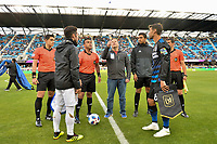 San Jose, CA - Saturday June 09, 2018: Coin toss, Benny Feilhaber, Chris Wondolowski during a Major League Soccer (MLS) match between the San Jose Earthquakes and Los Angeles Football Club at Avaya Stadium.