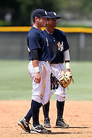 GCL Yankees Dante Bichette Jr #22 and shortstop Jose Rosario #31 during a game against the GCL Phillies at the New York Yankees Minor League Complex on June 24, 2011 in Tampa, Florida.  The Yankees defeated the Phillies 9-0.  (Mike Janes/Four Seam Images)