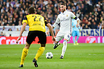 Real Madrid's Sergio Ramos and Borussia Dortmund Christian Pulisic during the UEFA Champions League match between Real Madrid and Borussia Dortmund at Santiago Bernabeu Stadium in Madrid, Spain. December 07, 2016. (ALTERPHOTOS/BorjaB.Hojas)