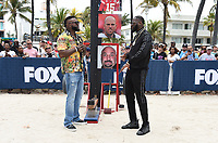 MIAMI BEACH, FL - JANUARY 31: David Ortiz and Deontay Wilder tape a TV segment at the Fox Sports South Beach studio during Super Bowl LIV week on January 31, 2020 in Miami Beach, Florida. (Photo by Frank Micelotta/Fox Sports/PictureGroup)