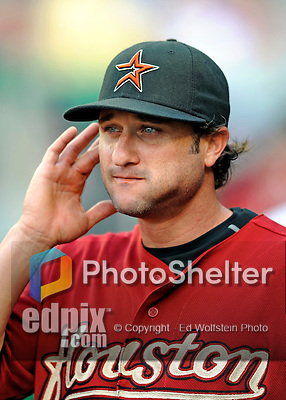 12 July 2008: Houston Astros' left fielder David Newhan walks the dugout prior to a game against the Washington Nationals at Nationals Park in Washington, DC. The Astros defeated the Nationals 6-4 in the second game of their 3-game series...Mandatory Photo Credit: Ed Wolfstein Photo