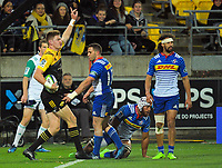 Jordie Barrett appeals for his try during the Super Rugby match between the Hurricanes and Stormers at Westpac Stadium in Wellington, New Zealand on Friday, 5 May 2017. Photo: Dave Lintott / lintottphoto.co.nz