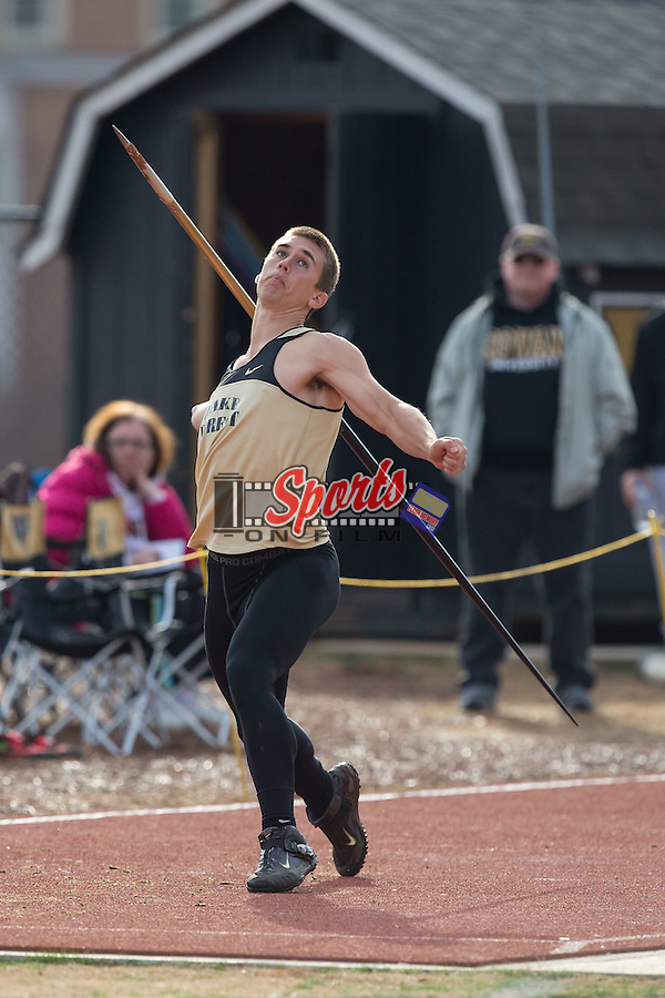 Alexander Krall of the Wake Forest Demon Deacons competes in the men's javelin at the Wake Forest Open on March 20, 2015 in Winston-Salem, North Carolina.  (Brian Westerholt/Sports On Film)