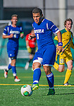 18 September 2013: Hofstra University Pride Midfielder Mario Ruiz, a Freshman from Brentwood, NY, in action against the University of Vermont Catamounts at Virtue Field in Burlington, Vermont. The Catamounts defeated the visiting Pride 2-1. Mandatory Credit: Ed Wolfstein Photo *** RAW (NEF) Image File Available ***