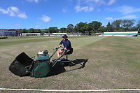 General view as a member of ground staff prepares the ground ahead of Surrey CCC vs Essex CCC, Specsavers County Championship Division 1 Cricket at Guildford CC, The Sports Ground on 10th June 2017
