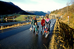 Norway: Norwegian Coast Voyages trip on the Nordlys, Bergen Line. People walking near village of Kvaefjord..Photo copyright Lee Foster, www.fostertravel.com..Photo #: norway102, 510/549-2202, lee@fostertravel.com