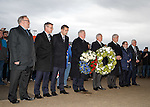 Rangers and Celtic directors lay wreaths before the match to remember the Rangers fans who perished in the Ibrox Disaster of 1971