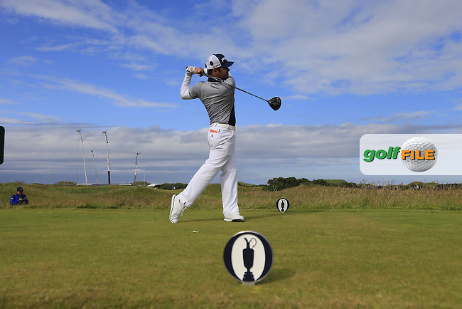Louis Oosthuizen (RSA) tees off the 14th tee during Sunday's Round 3 of the 144th Open Championship, St Andrews Old Course, St Andrews, Fife, Scotland. 19/07/2015.<br /> Picture Eoin Clarke, www.golffile.ie
