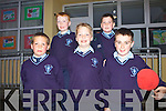 Pupils Brian Reidy, Paddy McElligott, Ryan Large, Cathal Sweeney and Cian Murphy attending the official opening of the new extension to Scoil Chorp Chri?ost in Knockanure last Friday night.