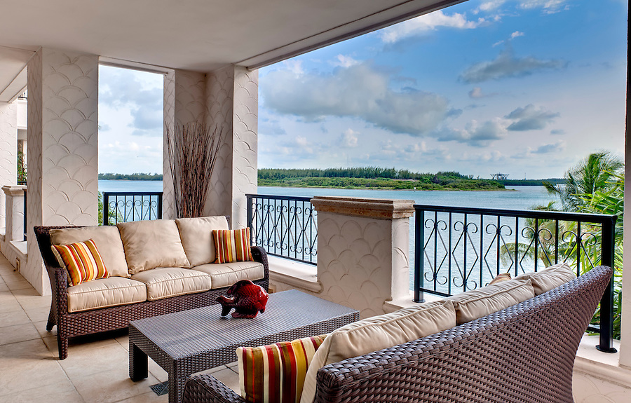 Furnished terrace with ocean view in Miami.