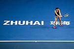 Anastasija Sevastova of Latvia hits a return during the singles semi final match of the WTA Elite Trophy Zhuhai 2017 against Julia Goerges of Germanyat Hengqin Tennis Center on November  04, 2017 in Zhuhai, China. Photo by Yu Chun Christopher Wong / Power Sport Images