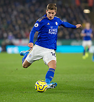 26th December 2019; King Power Stadium, Leicester, Midlands, England; English Premier League Football, Leicester City versus Liverpool; Dennis Praet of Leicester City crossing the ball - Strictly Editorial Use Only. No use with unauthorized audio, video, data, fixture lists, club/league logos or 'live' services. Online in-match use limited to 120 images, no video emulation. No use in betting, games or single club/league/player publications