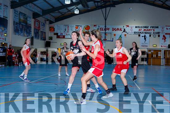 Lorraine Scanlon St Marys drives to the St Matthews basket during the Senior Ladies final at the St Marys Basketball Blitz on Saturday