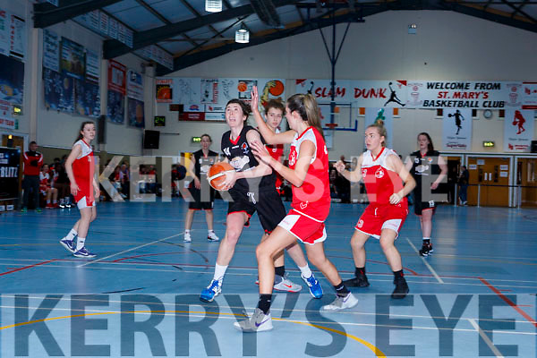 Lorraine Scanlon St Marys drives to the St Matthews basket during the Senior Ladies final at the St Marys Basketball Blitz on Saturday