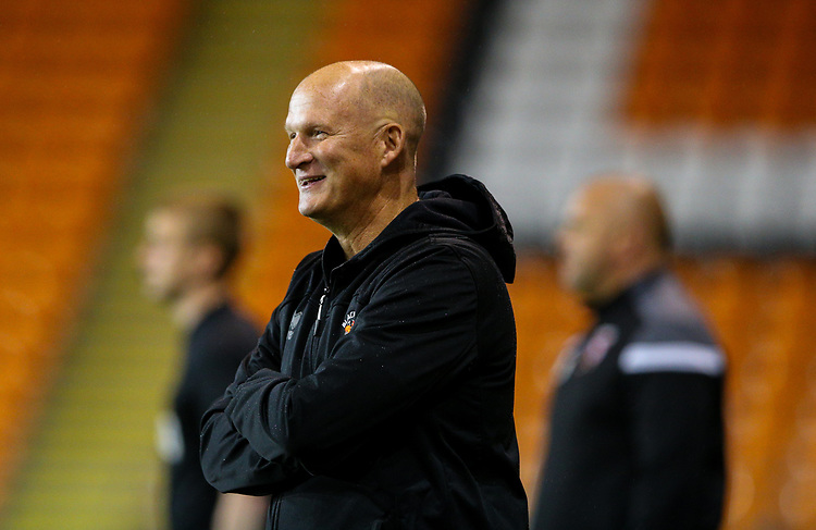 Blackpool manager Simon Grayson reacts<br /> <br /> Photographer Alex Dodd/CameraSport<br /> <br /> EFL Leasing.com Trophy - Northern Section - Group G - Blackpool v Morecambe - Tuesday 3rd September 2019 - Bloomfield Road - Blackpool<br />  <br /> World Copyright © 2018 CameraSport. All rights reserved. 43 Linden Ave. Countesthorpe. Leicester. England. LE8 5PG - Tel: +44 (0) 116 277 4147 - admin@camerasport.com - www.camerasport.com